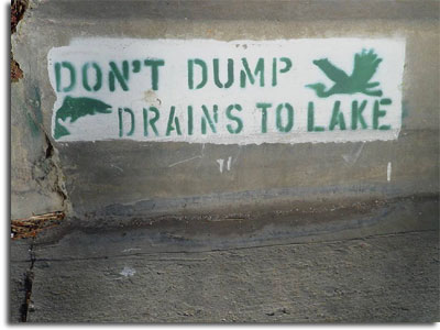 Don't Dump Water Drains to Lake